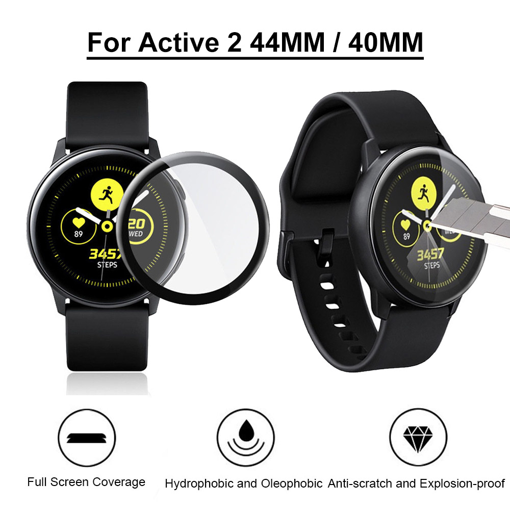 3D Curved Soft Clear Full Edge Cover Protective Film for Samsung Galaxy Watch Active2 44/40MM Screen Protector Guard (Not Glass)