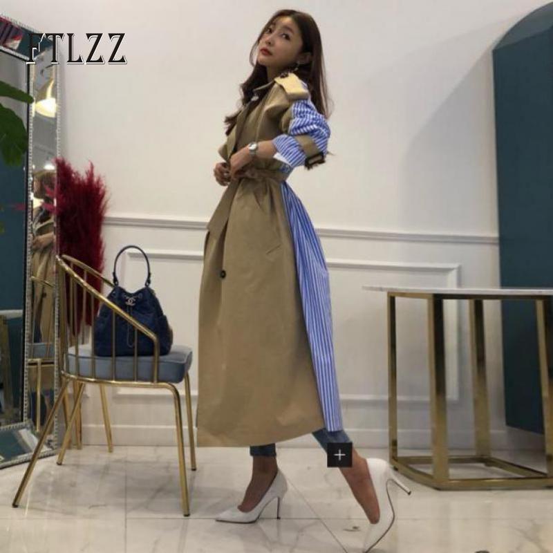 Fashion Women Stripe Splicing Loose   Trench   Coat Autumn 2019 New Female Medium Long Turn-down Collar Single Breasted Windbreaker