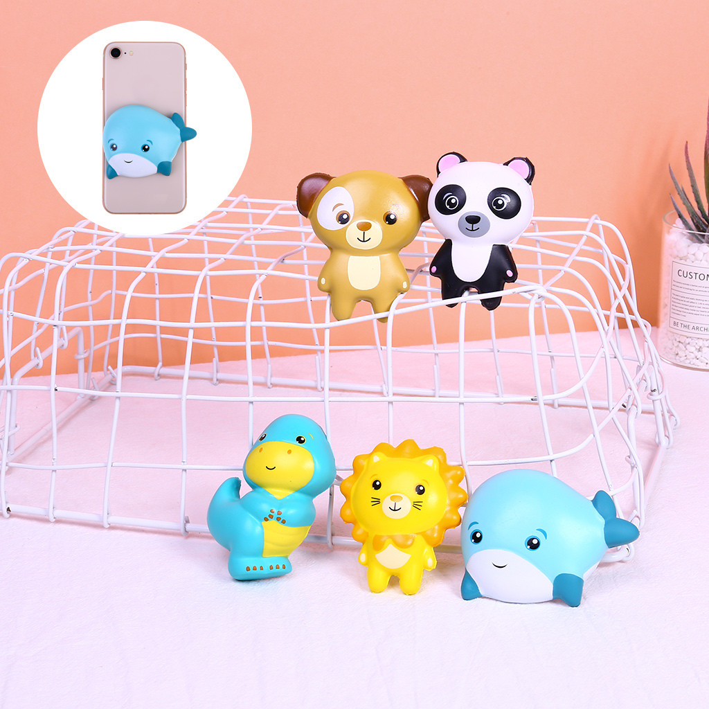 Kawaii Cartoon Panda Scented Squishies Doll Stress Relief Toy Bear Lion Slow Rising Squeeze Toys Soft Stretchy Phne Sticker Gift