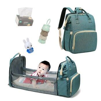 ¡Novedad de 2020! Mochila para pañales de gran capacidad, cama plegable multifuncional para bebé, bolso de maternidad, bolsa aislante para cochecito, enfermería