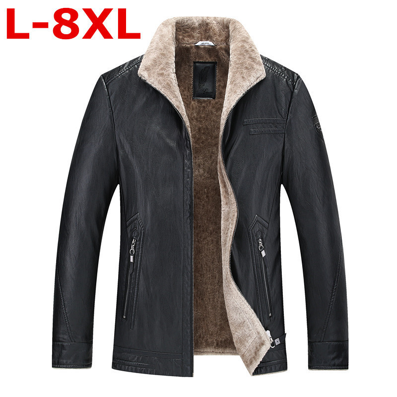 New Plus Size  8XL 9XL 7XL 6XL Pilot Leather Jacket Brown Black Fur Genuine Leather Jacket Men Winter Natural Sheep Skin Coat