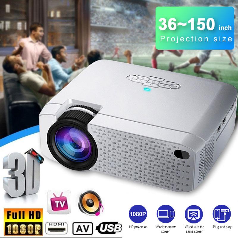 Mini projecteur LED D40W, projecteur vidéo pour cinéma.1600 Lumens, prise en charge HD, affichage de synchronisation sans fil pour téléphone iPhone/Android