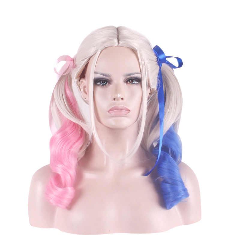 Vicwig Suicide Squad Harleen Quinzel Cosplay Pruiken Dual Paardestaart Roze Wit Blauw Tricolor Krullend Synthetische Pruiken Voor Vrouwen