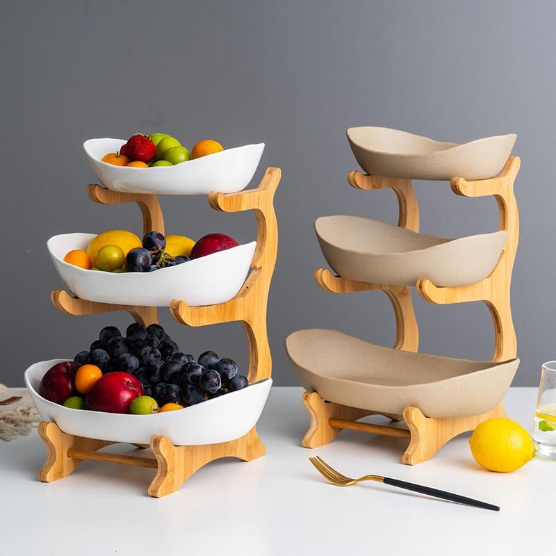 Plato de cerámica de caramelo sala de estar hogar de tres capas de fruta plato de bocadillo creativo moderno de fruta seca cesta de frutas WF730250