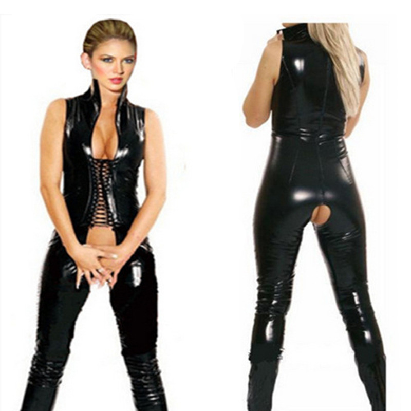 Nightclub Leather-Dancing Dress Women's DS Service Sexy Suit One-piece Motorcycle Export Game Uniform Pole Dancing Clothing