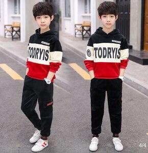 Image 3 - Boys Autumn Winter Sports Suit Children Clothing set Girls Thick Velvet Hoodies+Pants 2PCS Kids Tracksuit 3 10Y Sweatsuit