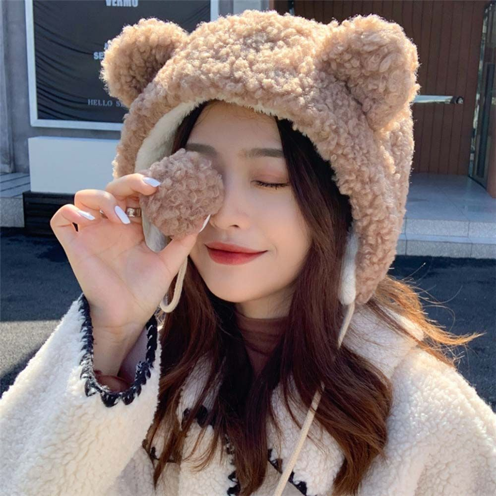 New Cute Style Winter Bear Ear Cap Plush Thicken Lambswool Warm Bomber Hats Fur Ball Ear Cap Pilot Hat Women Outdoor Ski Hat