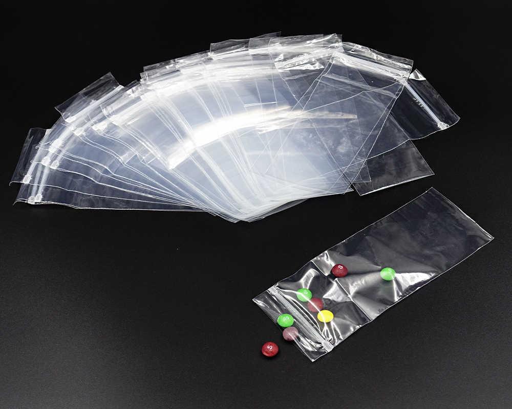 50 шт. пластиковые пакеты, повторно запечатывающийся пакет со струнным замком, мешок для мелочей, водонепроницаемый самозапечатывающийся, для хранения, прозрачный пирог печенье, конфеты, сумки