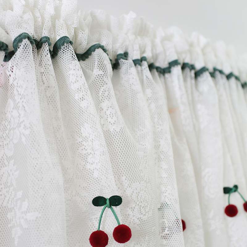 Pastoral Kitchen Curtains With Lovely Cherry Decoration Embroidered White Coffee Curtain For Livingroom Lace Window Valance Aliexpress