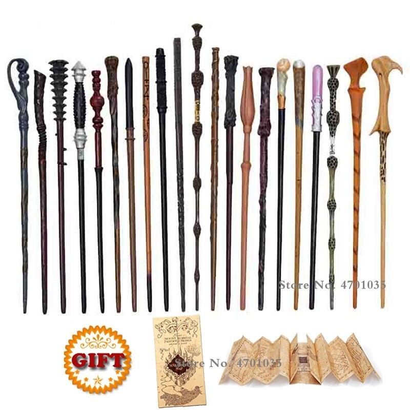 28 sortes de baguettes magiques de poter à noyau métallique, Cosplay Hermione Voldemort Malfoy Dumbledore, la carte de Marauder en cadeau, pas de boîte