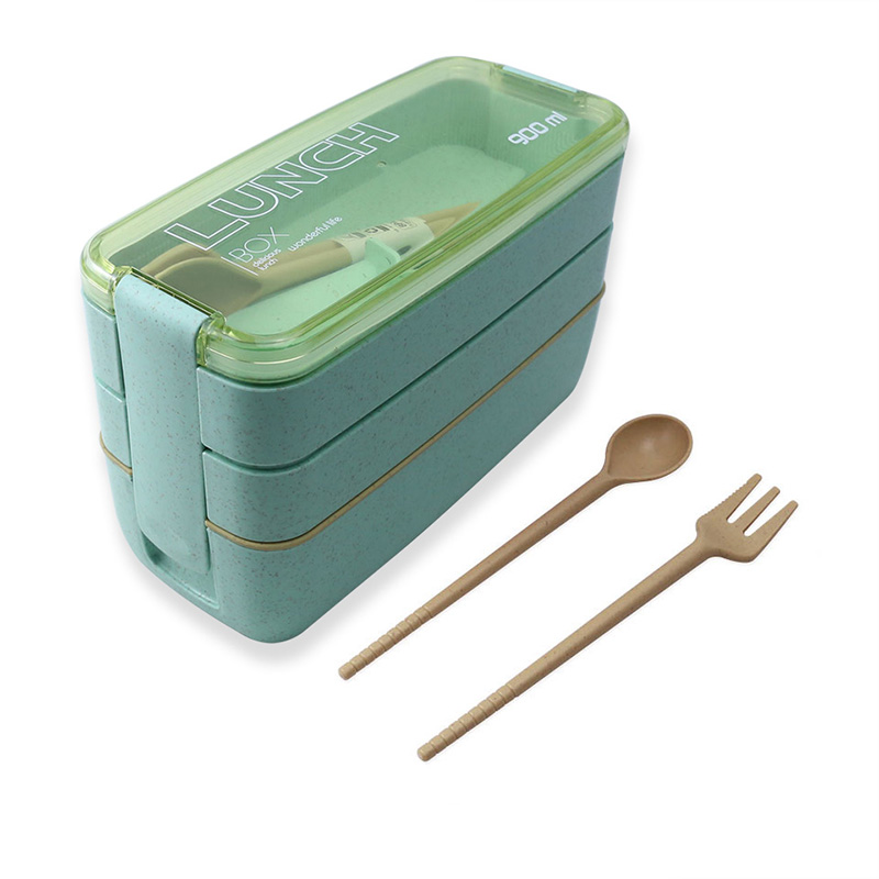 900ml 3 Layers Lunch Box Bento Food Container Eco-Friendly Wheat Straw Material Microwavable Dinnerware Lunchbox 2020 New Vip