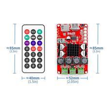 Tpa3116 placa digital amplificadora de áudio, com receptor de buetooth e decodificação u disk tf com controle remoto 2x50w