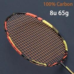 Ultraleve 8u 65g carbono profissional raquete de badminton cordas strung saco multicolorido z velocidade força raket rqueta padel 22-30lbs