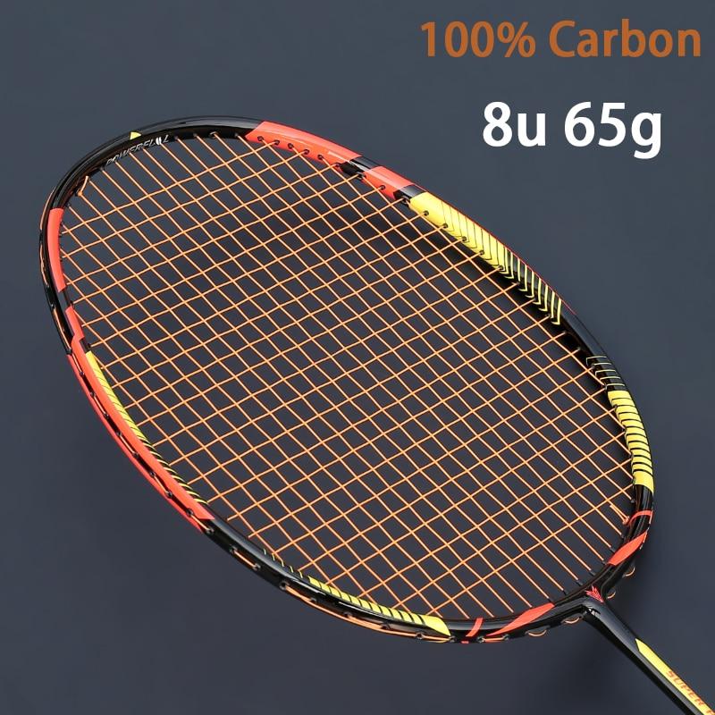 Ultralight 8U 65g Carbon Professional Badminton Racket Strings Strung Bag Multicolor Z Speed Force Raket Rqueta Padel 22-30LBS
