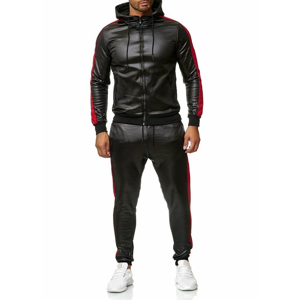 Men's Tracksuit Brand Hoodie Patchwork Sweatshirt Leather Top Pants Sets Sports Suit Tracksuit спортивный костюм мужской#G2