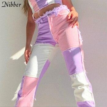 Moda NIBBER 2020, ropa de calle de cintura alta para mujer, Pantalones rectos de hip hop, pantalones femeninos casuales con botón de diseño de retales