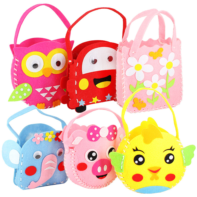 2020 New DIY Handbag Children Craft Toy Mini Bag Non-woven Cloth Colorful Handmade Bag Cartoon Animal Children Handbags