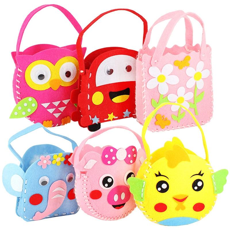 2020 New DIY Handbag Children Craft Toy Mini Bag Non-woven Cloth Colorful Handmade Bag Cartoon Animal Children Handbags