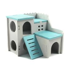 Hamster Hideout Pet-Cage Guinea-Pig Wooden Small Cute for Climbing-Toy Double-Layer