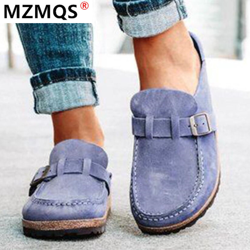 2020 New Retro Casual Women Flats Plus Size Slip On Loafers Half Drag Round Toe Women Flats Autumn Sneakers Ladies Women Shoes
