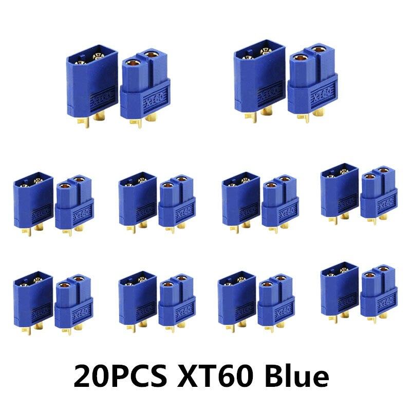 10/20 шт. XT60 черный/голубой/XT60+/XT30UPB/XT60-E/XT60-L штекерно-разъемы Вилки провод с силикатной гелевой обмоткой для Батарея Quadcopter Drone - Цвет: 20PCS XT60 Blue