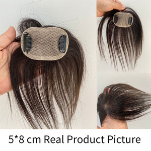Image 4 - Doreen 8 inch Silk Base Hair Topper Virgin Human Hair Toupee  for Women Natural Color  Women Toupee with 3 clips
