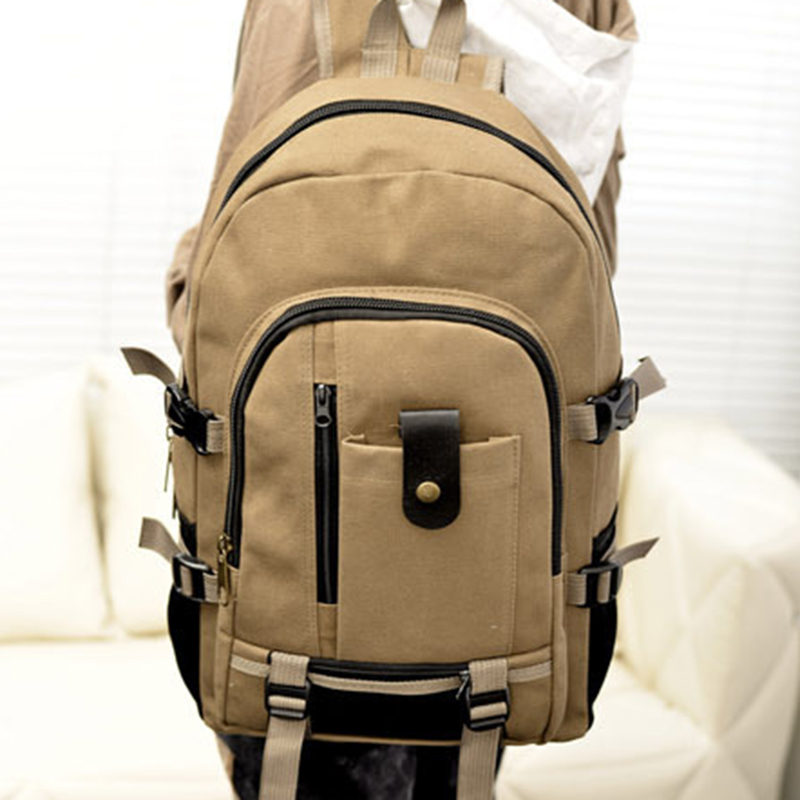 SHUJIN Men's Canvas Backpacks Leisure Travel Vintage Men's Laptop Backpack Shoulder Bag Computer Functional Versatile Bags 2020