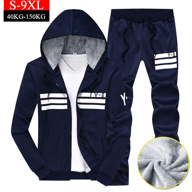 Plus Size 9XL Men's Sets Winter Fashion Warm Fleece Hooded Hoodies Sportswear Two Pieces Tracksuit Men Pants Sporting Sweat Suit