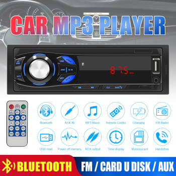 Car Stereo Bluetooth 1 Din Car MP3 Multimedia Player FM AUX TF USB Autoradio With Remote Control Car Audio Blue light VEHEMO image