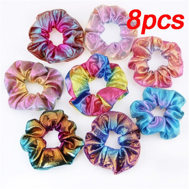 6/8Pcs Fashion Set Glitter Scrunchie Colorful Elastic Bronzing Hair Elastic Glitter Ponytail Holder Scrunchie Pack Hair Accessor