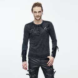 Duivel Mode Mannen Punk Rock Lange Mouw T-shirt Punk Streetwear Cool T-shirts Slim Fit Casual Tops