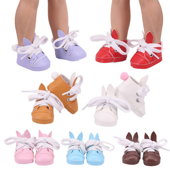 5Cm Doll PU Leather Rabbit Shoes For 14.5 Inch Nancy American Doll &1/6 BJD &BJD EXO Doll&32-34Cm Paola Reina Doll Russia Girl image