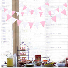4M 12 Flags Pink White Fabric flag Garlands Birthday Bunting Banners Pennant Baby Shower Wedding Garland Party Decoration