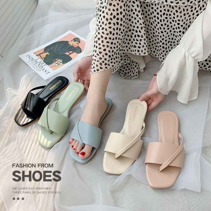 2020 New Summer Slippers Female Flat Bottom Wave Lace Women Shoes Woman Slides Beach Shoes Solid Leather Flip Flops Plus Size