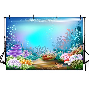 Under Sea Starfish Photography Backdrop Corals Ariel Princess Little Mermaid Baby Birthday Party Decorations Photo Background