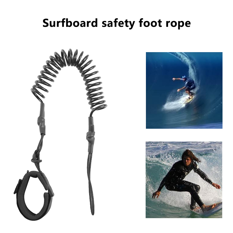10ft Ankle Leash Surfing Coiled Stand UP Paddle Board Black TPU Paddle Board Foot Leg Rope Surfboard Raft Traction Rope