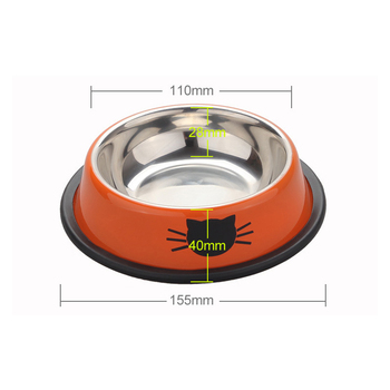 Pet Dog Bowl Durable Stainless Steel Paint Feeding Dishes Non-Slip   6
