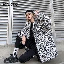 NYOOLO Harajuku style street leopard thicken warm coats Autumn Winter loose long sleeve zipper jakce