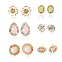 European and American Fashion Jewelry Hot New Earrings 6 Pairs of Set Gemstone Wholesale Earings