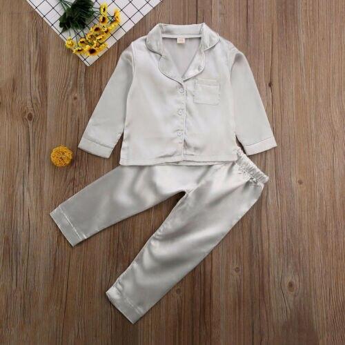 Childrens Kids Pyjamas Silk Satin Tops Pant Autumn Winter Long Sleeve Sleepwear Nightwear Girl Boy Pajama Sets 5