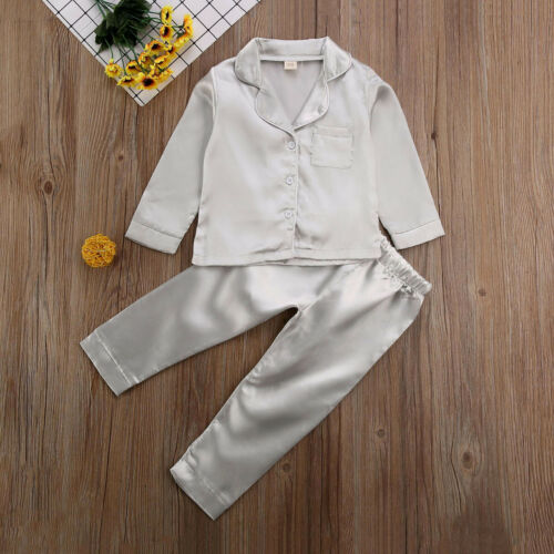 Kids Pyjamas Nightwear Pant Sleepwear Satin Girl Winter Childrens Autumn Silk Boy Tops