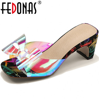 FEDONAS Fashion Butterfly Knot Slippers Women 2020 Summer Peep Toe Thick Heels Sandals Sweet Dancing Casual House Shoes Woman