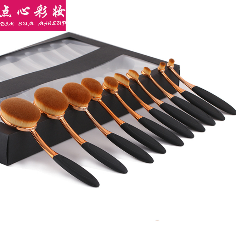 Special Offer 10 Toothbrush Makeup Brush Toothbrush Type Makeup Brush Set 10 of Black Rose Gold Toothbrush Makeup Brush image