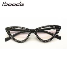 IBOODE Cat Eye okulary do czytania okulary kobiety mężczyźni okulary korekcyjne okulary kobieta mężczyzna okulary nadwzroczność okulary mody z Rhinestone tanie tanio Przezroczysty Unisex Z tworzywa sztucznego Lustro YJ7656 4 1cm