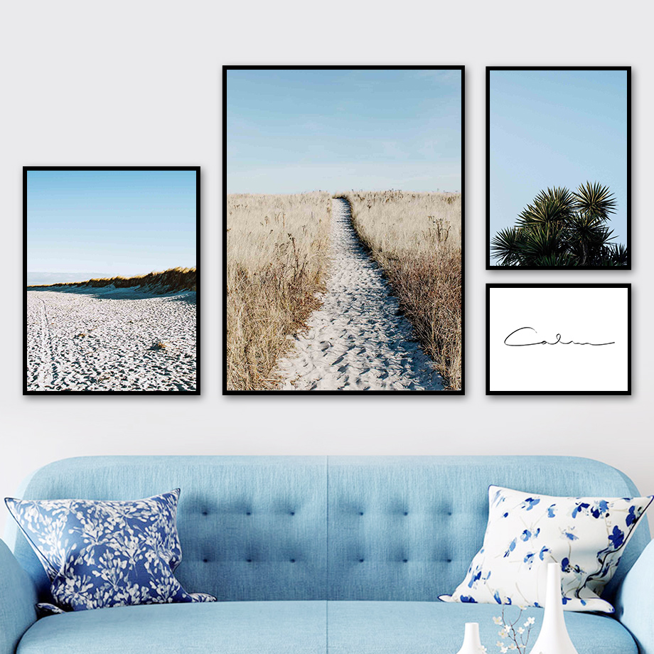 Desert Reed Grass Plant Leaves One Line Wall Art Canvas Painting Nordic Posters And Prints Wall Pictures For Living Room Decor