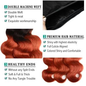 Image 3 - Sexay vücut gölgeli dalgalı saç demetleri dantel kapatma ile 350 turuncu altın sarışın Remy brezilyalı vücut dalga İnsan saç kapatma ile