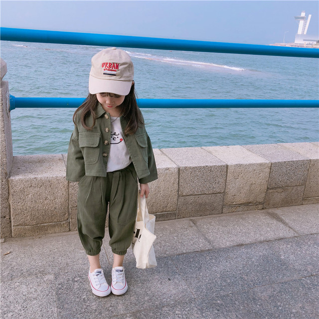 2019 Autumn New Arrival Korean style cotton clothing sets casual jacket with harlen long pants fashion suit for baby girls boys