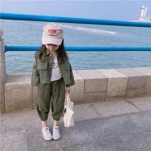 Conjunto coreano de roupas de algodão, outono 2019, casual, jaqueta com calças compridas, terno para bebês meninas meninos