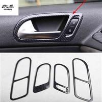 4pcs/lot ABS carbon fiber grain or wooden Interior door shake handshandle cover for 2010 2017 Volkswagen VW Tiguan MK1