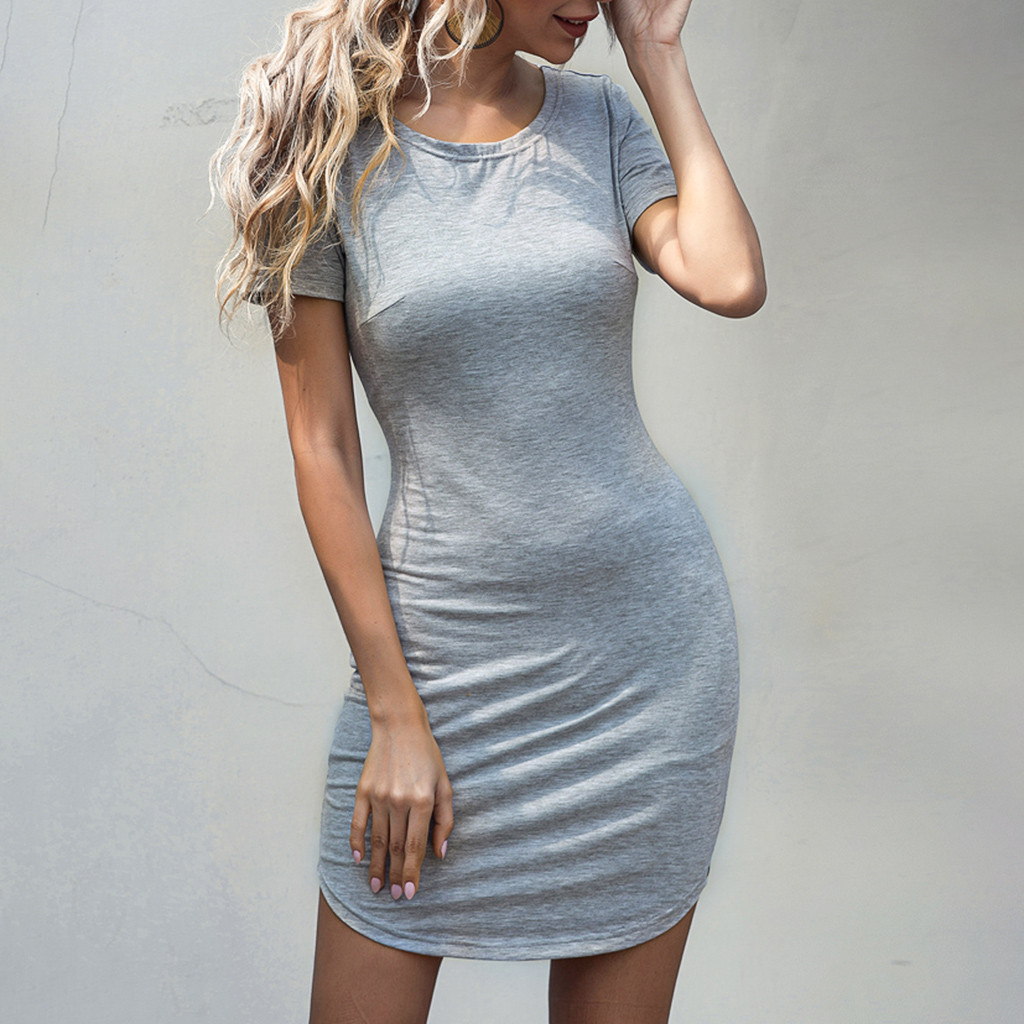 Bodycon Women Dress Short Sleeve Robe Sexy Summer Office Dresses Mini Bandage Black Gray Army Green Pencil Dress 2020#J3|Dresses| - AliExpress